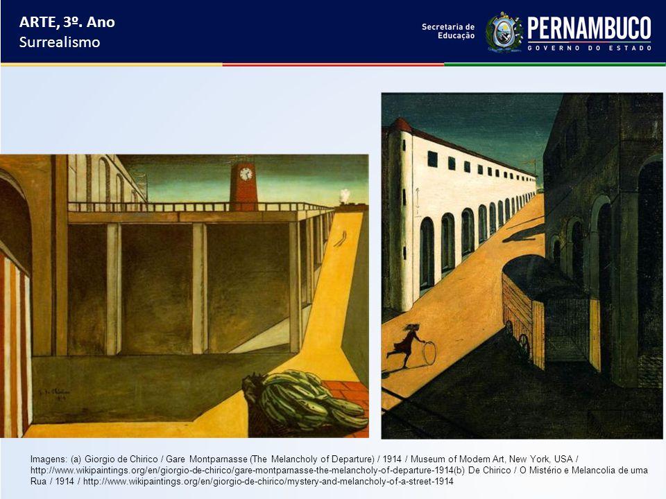 ARTE, 3º. Ano Surrealismo Imagens: (a) Giorgio de Chirico / Gare Montparnasse (The Melancholy of Departure) / 1914 / Museum of Modern Art, New York, U