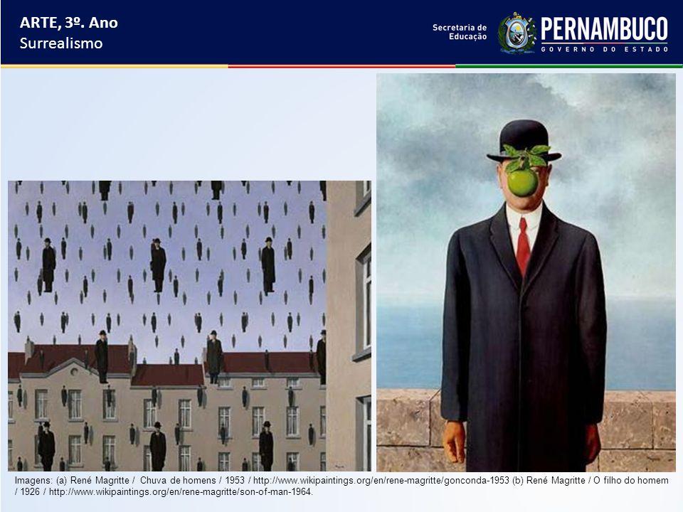 ARTE, 3º. Ano Surrealismo Imagens: (a) René Magritte / Chuva de homens / 1953 / http://www.wikipaintings.org/en/rene-magritte/gonconda-1953 (b) René M