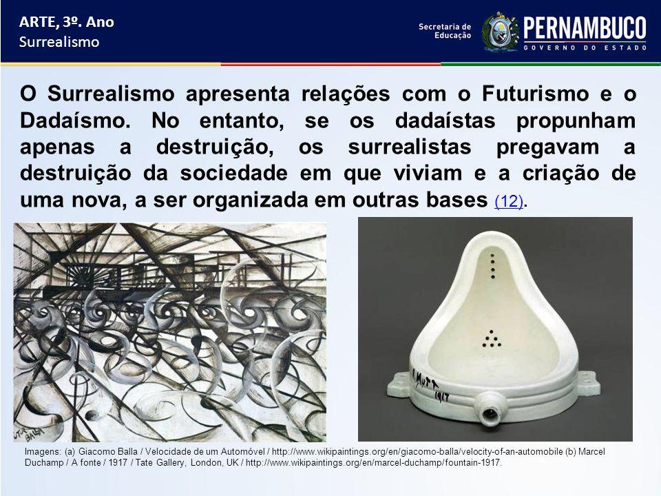 ARTE, 3º. Ano Surrealismo O Surrealismo apresenta relações com o Futurismo e o Dadaísmo. No entanto, se os dadaístas propunham apenas a destruição, os