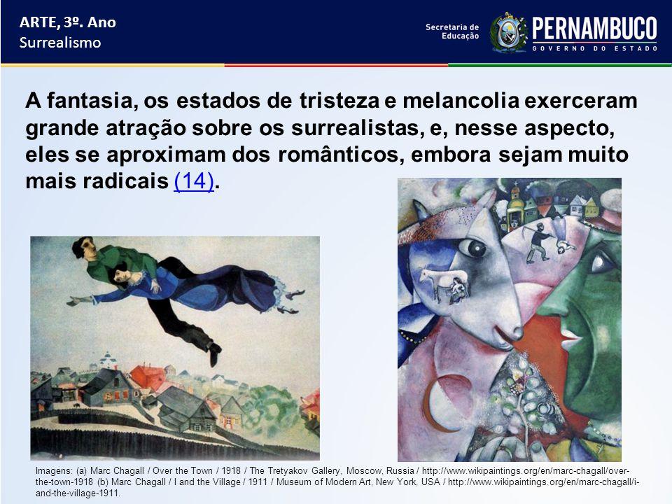 ARTE, 3º. Ano Surrealismo A fantasia, os estados de tristeza e melancolia exerceram grande atração sobre os surrealistas, e, nesse aspecto, eles se ap