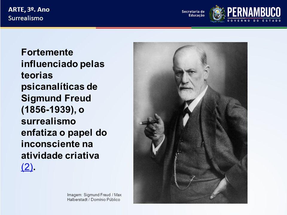 ARTE, 3º. Ano Surrealismo Fortemente influenciado pelas teorias psicanalíticas de Sigmund Freud (1856-1939), o surrealismo enfatiza o papel do inconsc