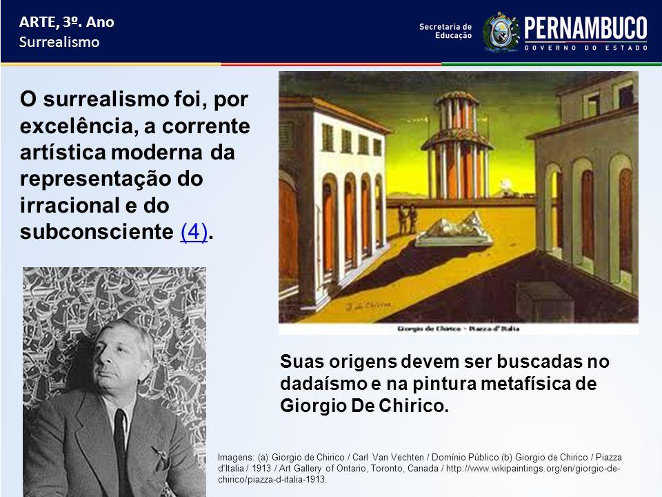 ARTE, 3º. Ano Surrealismo Suas origens devem ser buscadas no dadaísmo e na pintura metafísica de Giorgio De Chirico. O surrealismo foi, por excelência