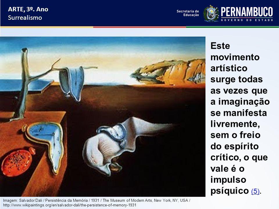 ARTE, 3º. Ano Surrealismo Este movimento artístico surge todas as vezes que a imaginação se manifesta livremente, sem o freio do espírito crítico, o q