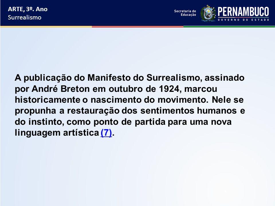 ARTE, 3º. Ano Surrealismo A publicação do Manifesto do Surrealismo, assinado por André Breton em outubro de 1924, marcou historicamente o nascimento d