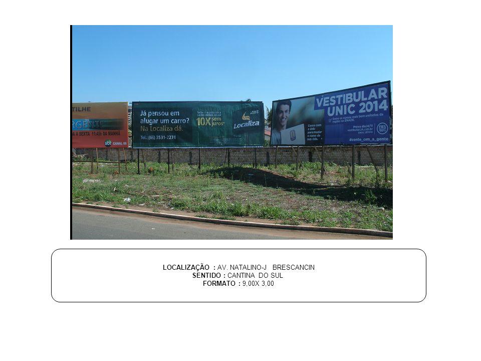 LOCALIZAÇÃO : AV. NATALINO-J BRESCANCIN SENTIDO : CANTINA DO SUL FORMATO : 9,00X 3,00