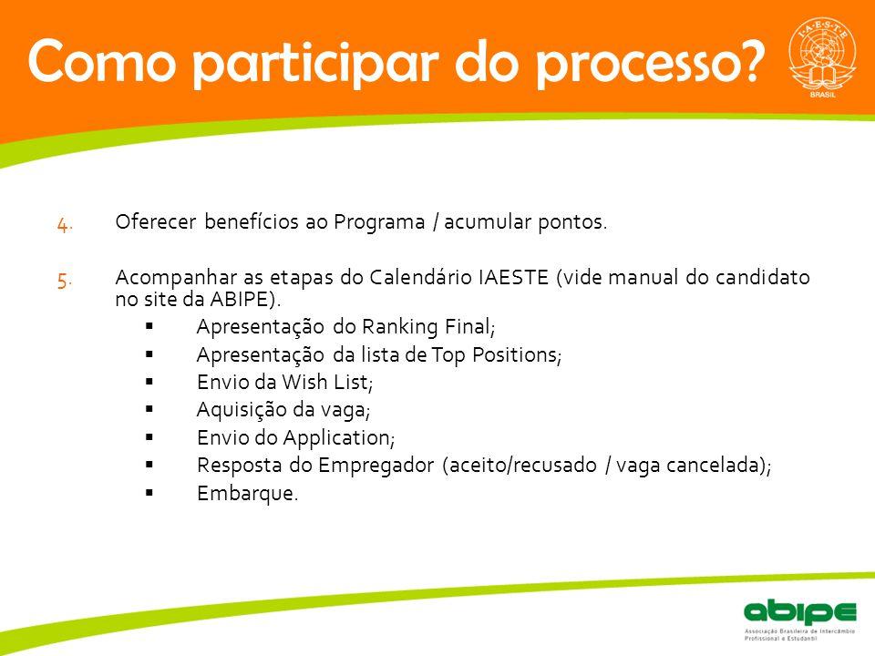 Quem é a ABIPE? Como participar do processo? 4.Oferecer benefícios ao Programa / acumular pontos. 5.Acompanhar as etapas do Calendário IAESTE (vide ma