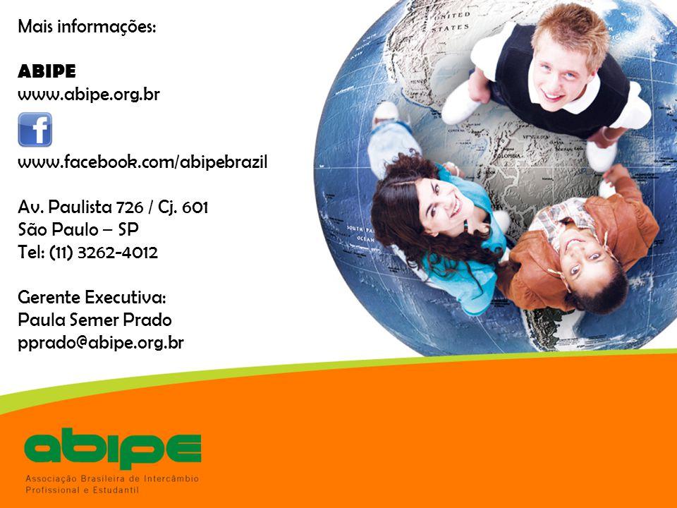 Mais informações: ABIPE www.abipe.org.br www.facebook.com/abipebrazil Av. Paulista 726 / Cj. 601 São Paulo – SP Tel: (11) 3262-4012 Gerente Executiva: