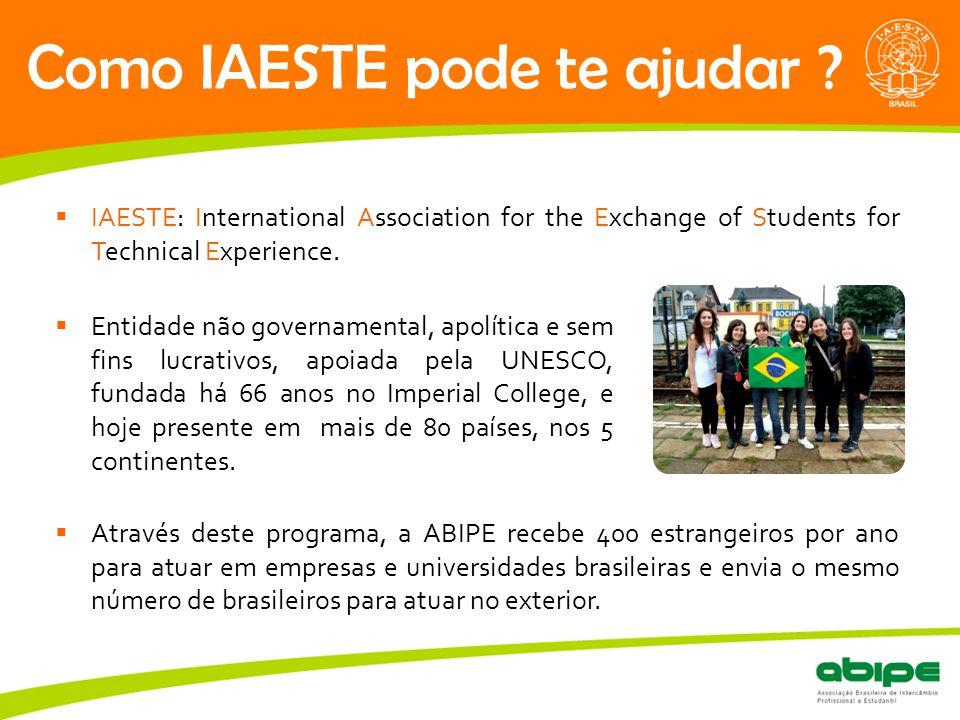 Quem é a ABIPE? Como IAESTE pode te ajudar ?  IAESTE: International Association for the Exchange of Students for Technical Experience.  Através dest