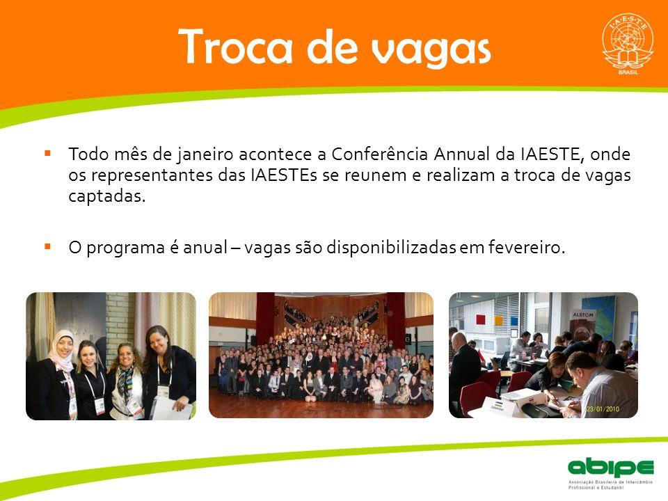 Quem é a ABIPE? Troca de vagas  Todo mês de janeiro acontece a Conferência Annual da IAESTE, onde os representantes das IAESTEs se reunem e realizam