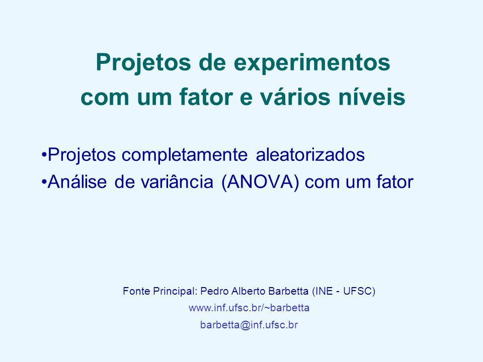 Projetos de experimentos com um fator e vários níveis Projetos completamente aleatorizados Análise de variância (ANOVA) com um fator Fonte Principal: