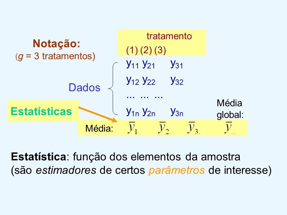 Notação: ( g = 3 tratamentos) tratamento (1)(2)(3) y 11 y 21 y 31 y 12 y 22 y 32......... y 1n y 2n y 3n Média: Média global: Estatísticas Dados Estat