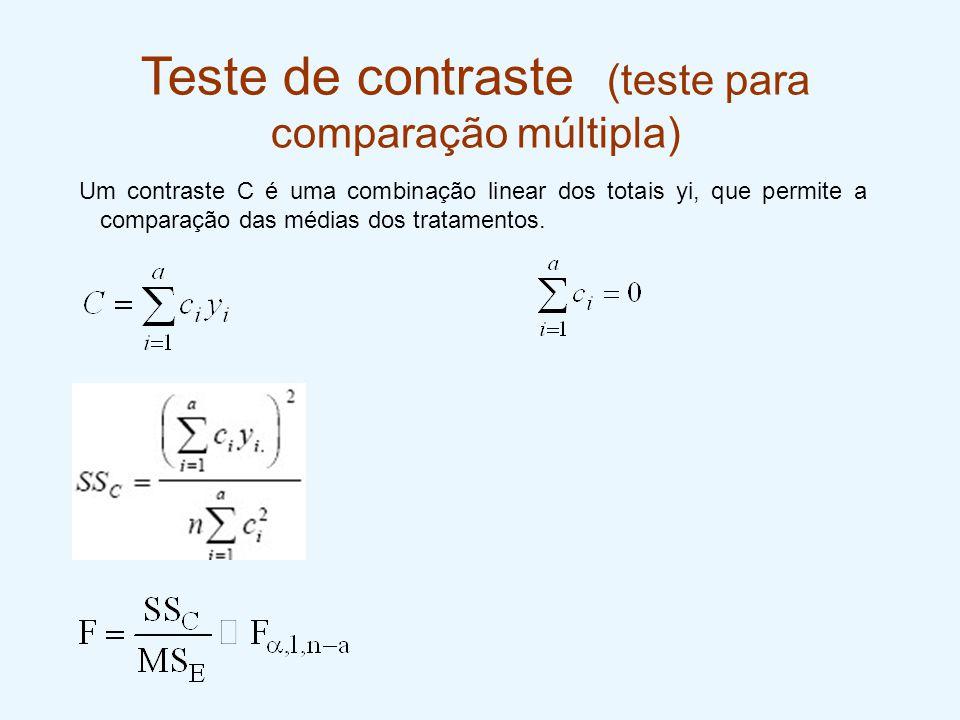 Teste de contraste (teste para comparação múltipla) Um contraste C é uma combinação linear dos totais yi, que permite a comparação das médias dos trat