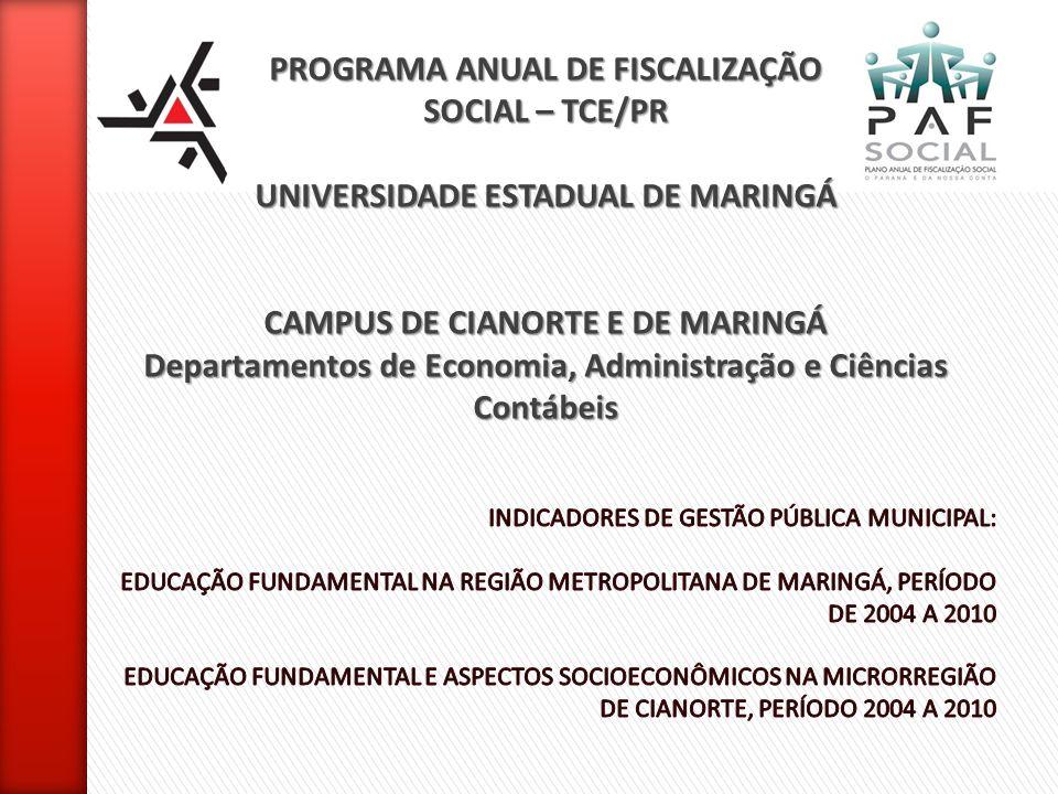 PROGRAMA ANUAL DE FISCALIZAÇÃO SOCIAL – TCE/PR UNIVERSIDADE ESTADUAL DE MARINGÁ CAMPUS DE CIANORTE E DE MARINGÁ Departamentos de Economia, Administraç