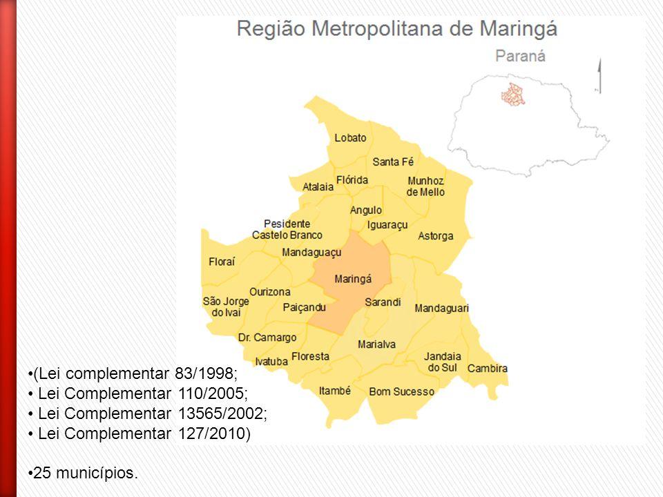 (Lei complementar 83/1998; Lei Complementar 110/2005; Lei Complementar 13565/2002; Lei Complementar 127/2010) 25 municípios.