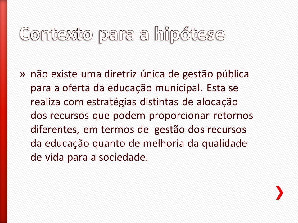 » Verificar, com o auxílio de indicadores, as diferentes estratégias de gestão pública dos recursos municipais na área de educação e sua efetividade, em particular para a Região Metropolitana de Maringá, período 2004 a 2010.