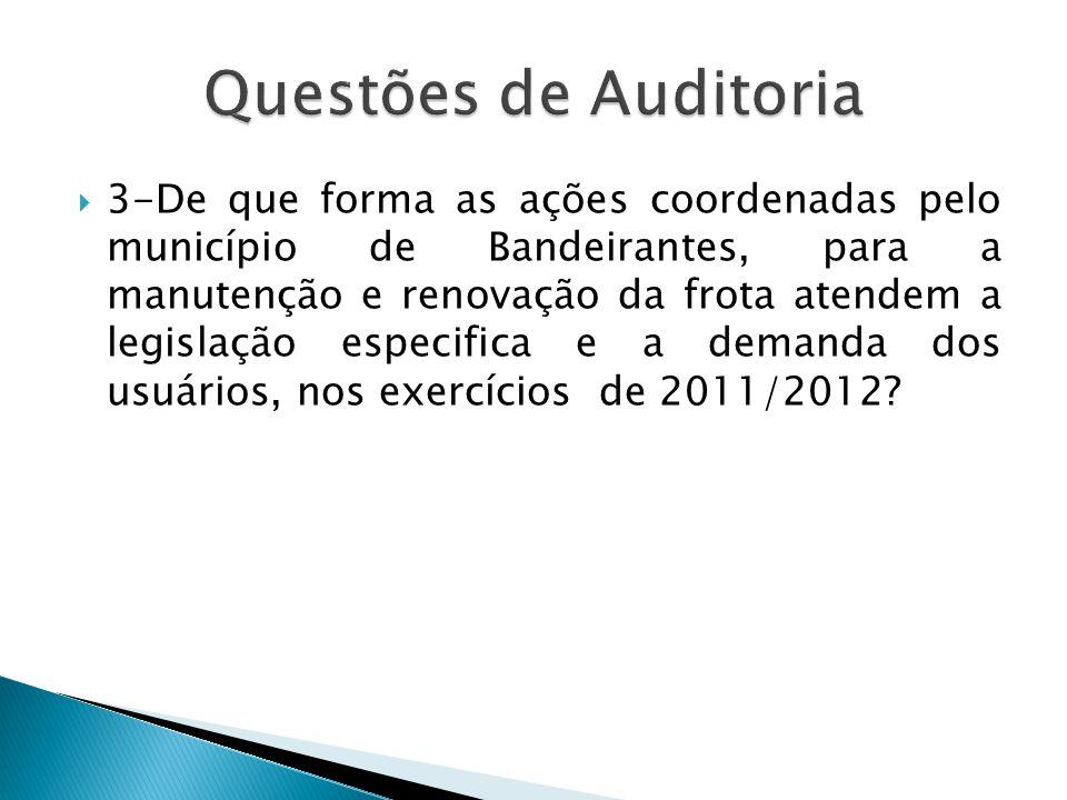  3-De que forma as ações coordenadas pelo município de Bandeirantes, para a manutenção e renovação da frota atendem a legislação especifica e a deman