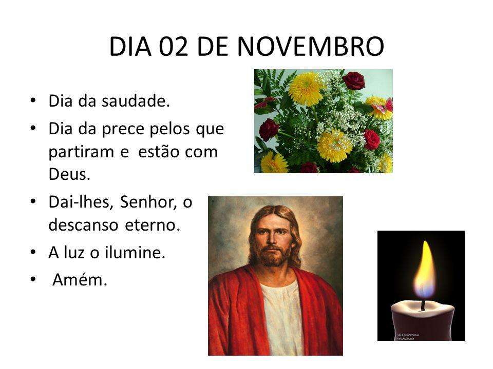 DIA 02 DE NOVEMBRO Dia da saudade. Dia da prece pelos que partiram e estão com Deus. Dai-lhes, Senhor, o descanso eterno. A luz o ilumine. Amém.