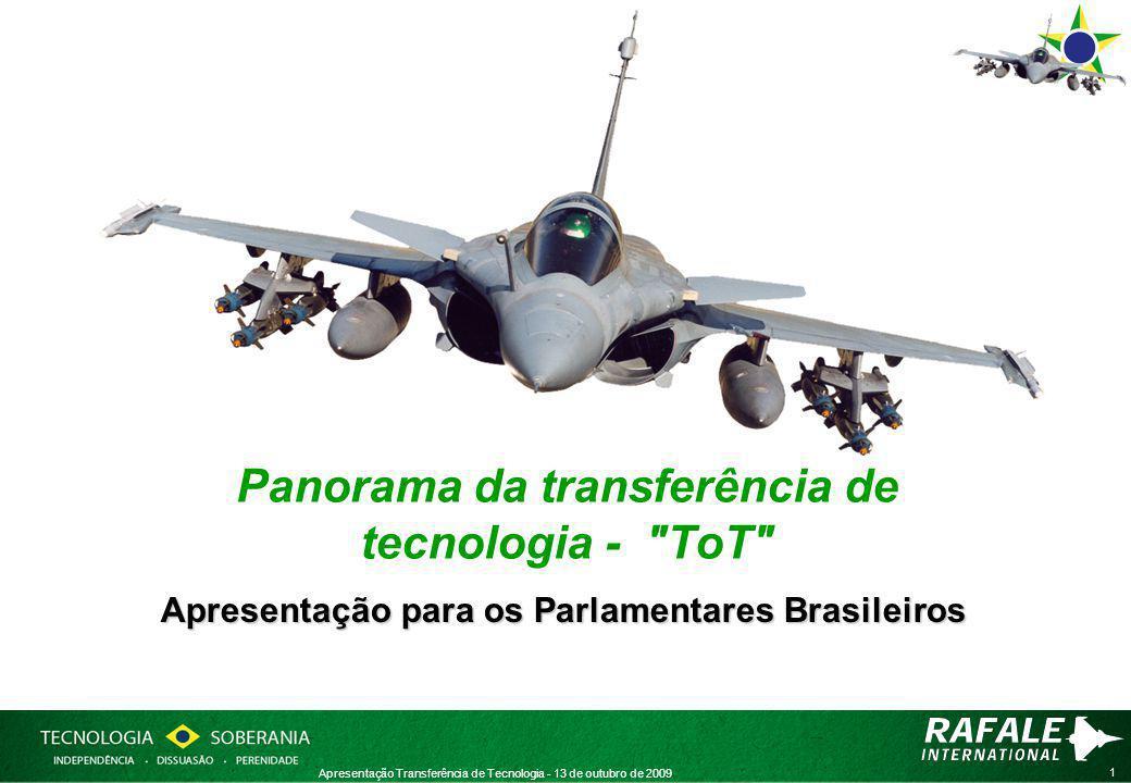 1 Apresentação Transferência de Tecnologia - 13 de outubro de 2009 Panorama da transferência de tecnologia - ToT Apresentação para os Parlamentares Brasileiros
