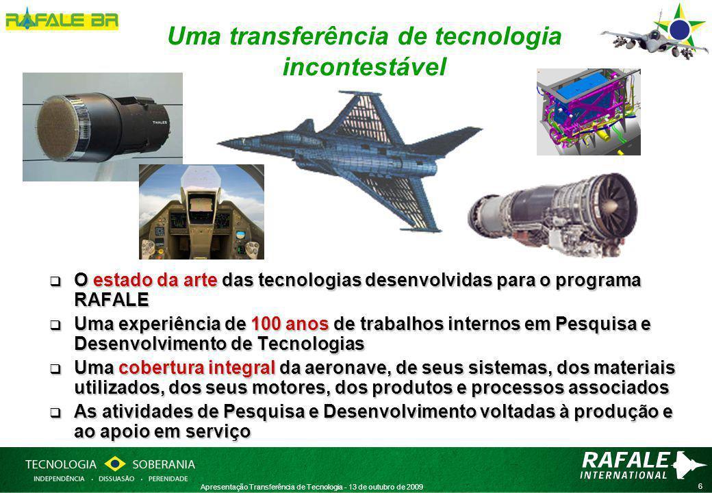 17 Apresentação Transferência de Tecnologia - 13 de outubro de 2009 A ESCOLHA DA PERENIDADE (II) : uma cooperação industrial e tecnológica sem riscos  Há mais de 60 anos, as indústrias francesas DASSAULT-AVIATION (aeronave e sistemas), SNECMA (motores), THALES (aviônicos) são os principais atores de uma política francesa deliberada de independência no setor estratégico da aviação de combate.