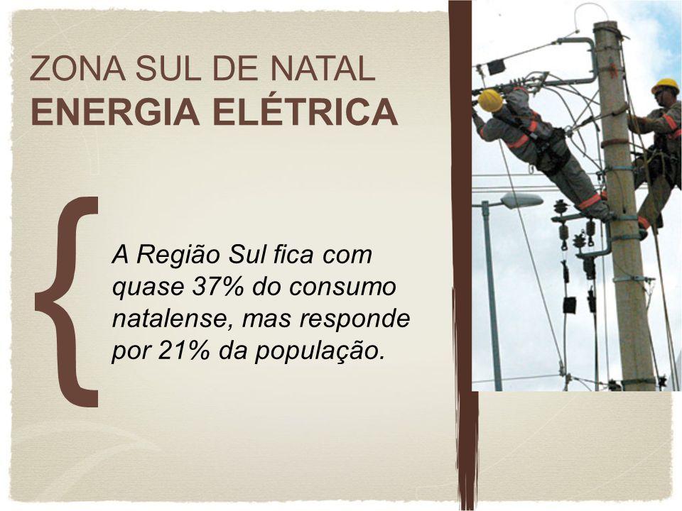 ZONA SUL DE NATAL ENERGIA ELÉTRICA A Região Sul fica com quase 37% do consumo natalense, mas responde por 21% da população.