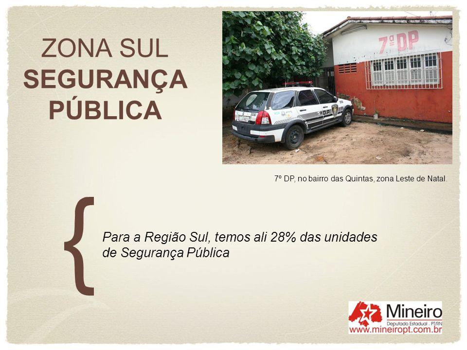 ZONA SUL SEGURANÇA PÚBLICA Para a Região Sul, temos ali 28% das unidades de Segurança Pública 7º DP, no bairro das Quintas, zona Leste de Natal.