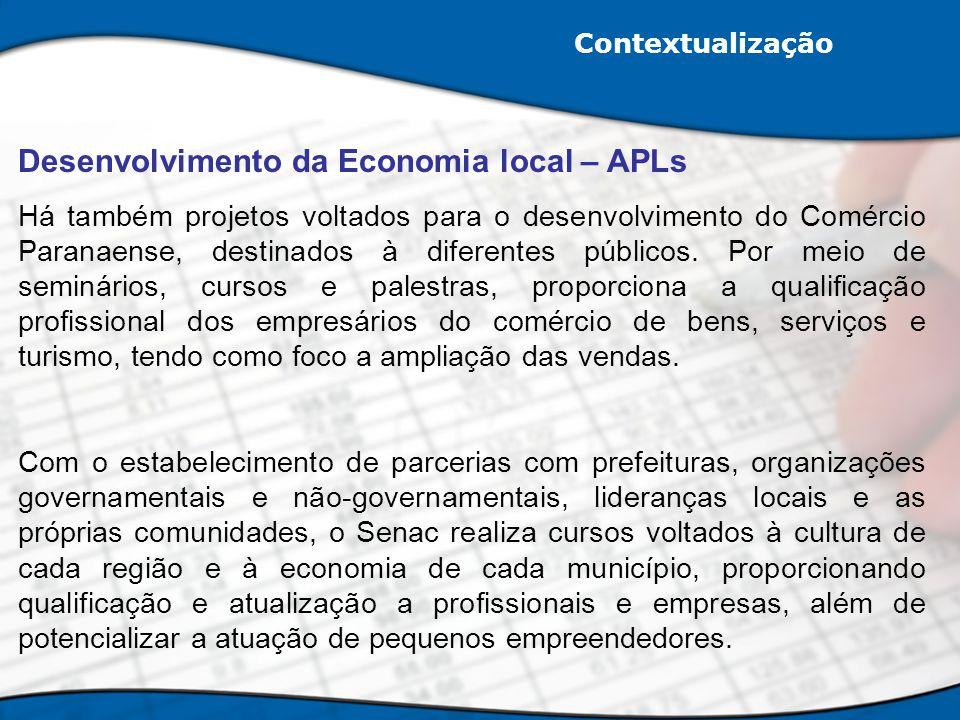 Contextualização Desenvolvimento da Economia local – APLs Há também projetos voltados para o desenvolvimento do Comércio Paranaense, destinados à dife
