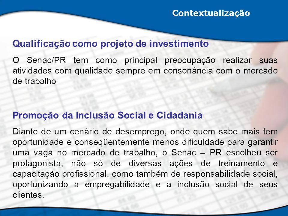 Qualificação como projeto de investimento O Senac/PR tem como principal preocupação realizar suas atividades com qualidade sempre em consonância com o