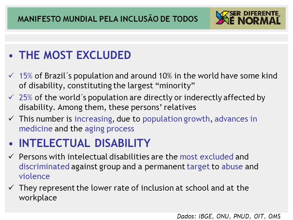 MANIFESTO MUNDIAL PELA INCLUSÃO DE TODOS THE MOST EXCLUDED 15% of Brazil´s population and around 10% in the world have some kind of disability, consti