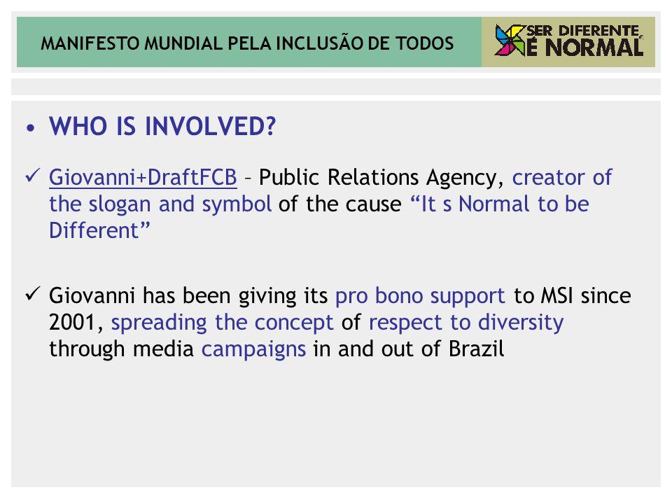 MANIFESTO MUNDIAL PELA INCLUSÃO DE TODOS WHO IS INVOLVED.