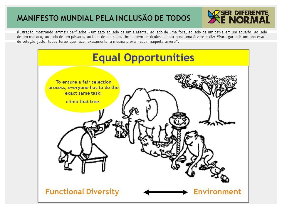 MANIFESTO MUNDIAL PELA INCLUSÃO DE TODOS To ensure a fair selection process, everyone has to do the exact same task: climb that tree. Equal Opportunit