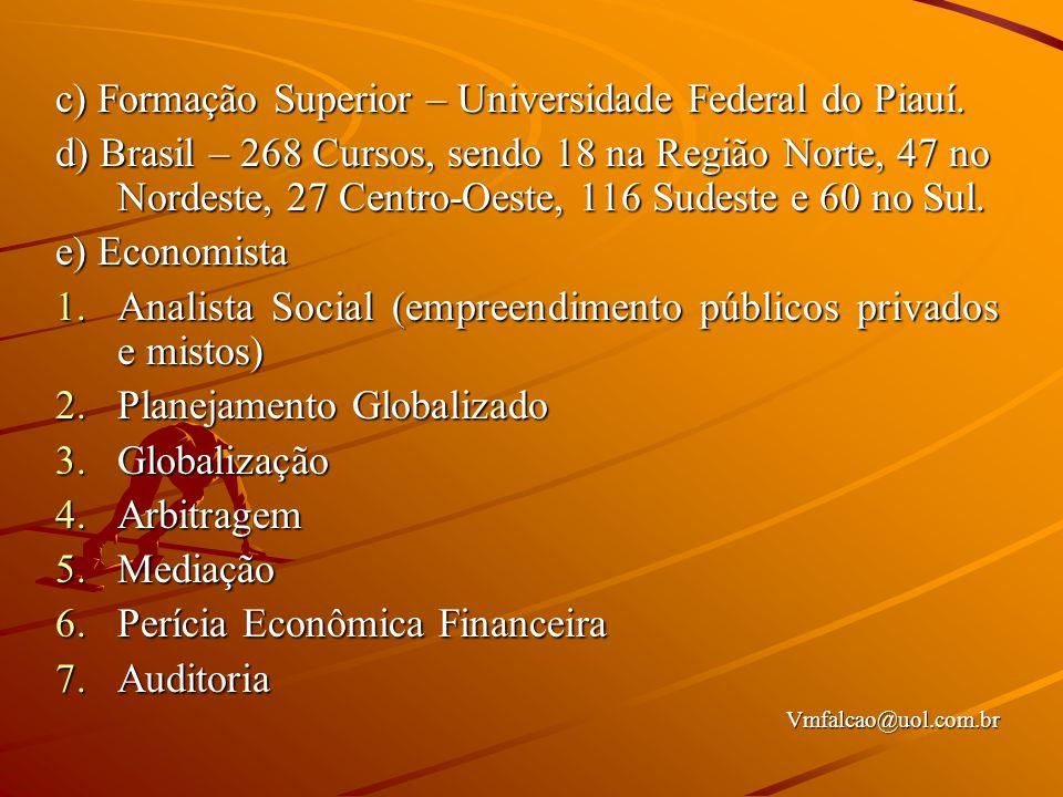c) Formação Superior – Universidade Federal do Piauí.