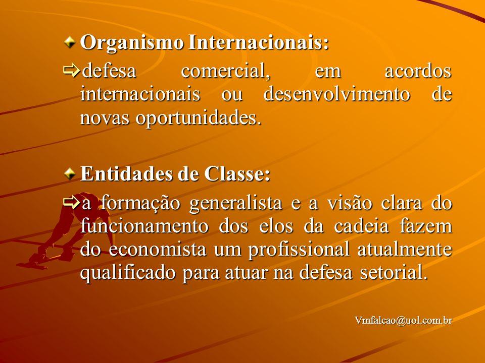 Organismo Internacionais:  defesa comercial, em acordos internacionais ou desenvolvimento de novas oportunidades.