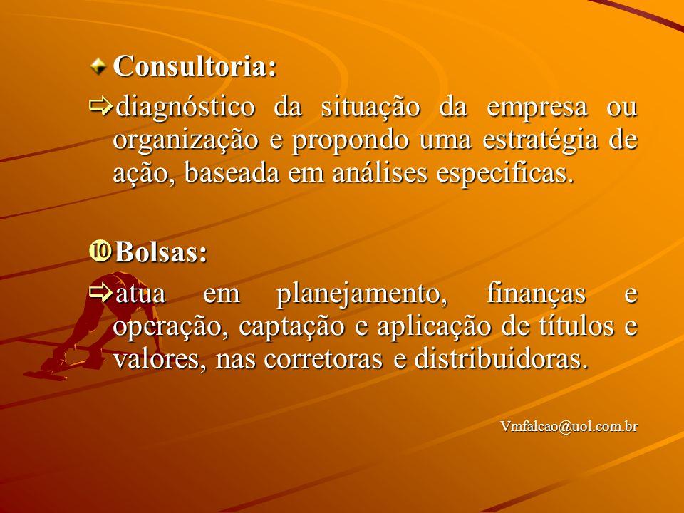 Consultoria:  diagnóstico da situação da empresa ou organização e propondo uma estratégia de ação, baseada em análises especificas.