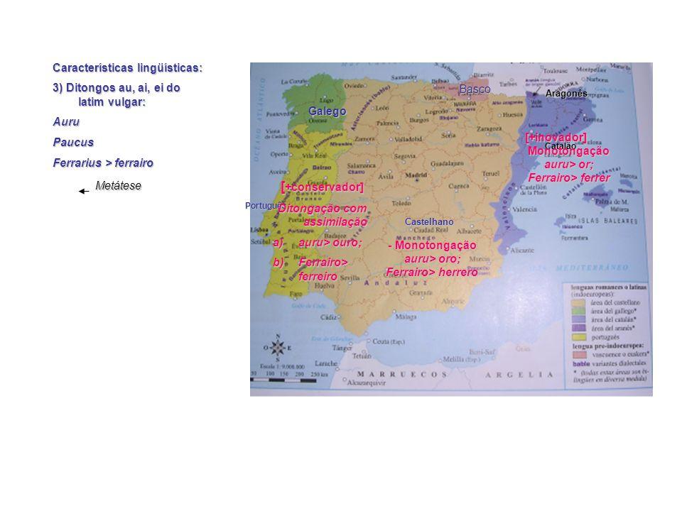 Características lingüísticas: 2) –u, -o átonos finais em latim Catalão Castelhano Português Galego Aragonês Basco [+inovador] -u, -o > 0 port [+conservador] -u, -o >[u] Port[u] -u, -o > [o] Puert[o]Buen[o]