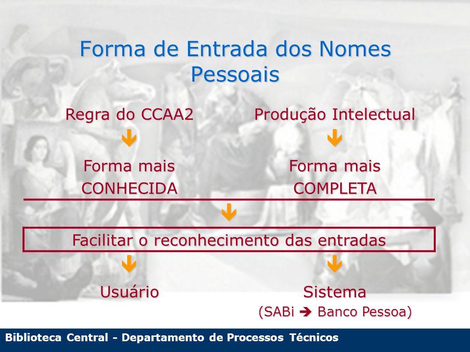 Biblioteca Central - Departamento de Processos Técnicos Forma de Entrada dos Nomes Pessoais Regra do CCAA2 Produção Intelectual  Forma mais CONHECIDA COMPLETA  Facilitar o reconhecimento das entradas  UsuárioSistema (SABi  Banco Pessoa)