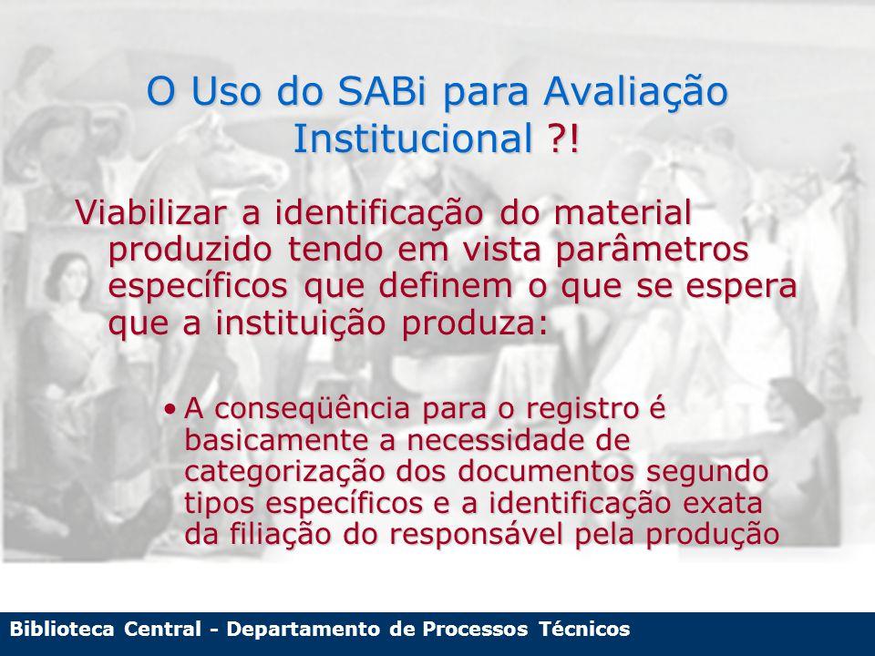 Biblioteca Central - Departamento de Processos Técnicos Conflito entre as funções do SABi no Registro da PI Padrões Técnicos de Catalogação X Demandas Institucionais