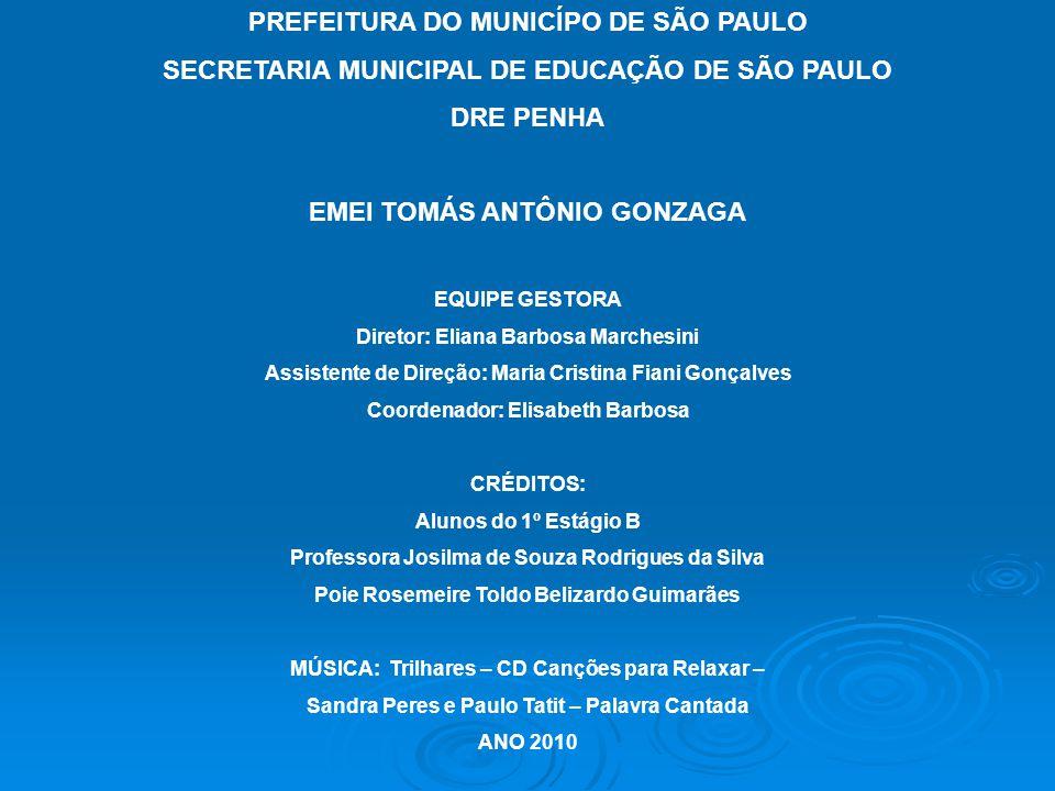 PREFEITURA DO MUNICÍPO DE SÃO PAULO SECRETARIA MUNICIPAL DE EDUCAÇÃO DE SÃO PAULO DRE PENHA EMEI TOMÁS ANTÔNIO GONZAGA EQUIPE GESTORA Diretor: Eliana