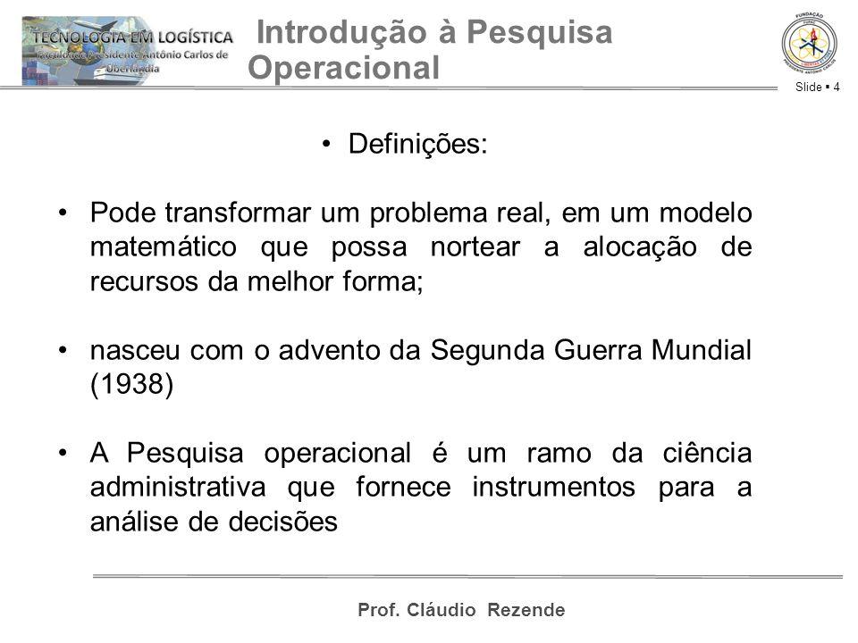 Slide  4 Prof. Cláudio Rezende Introdução à Pesquisa Operacional Definições: Pode transformar um problema real, em um modelo matemático que possa nor
