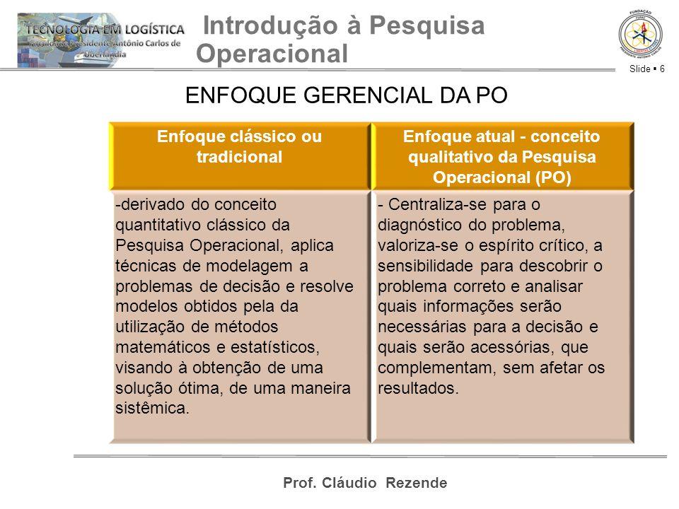 Slide  6 Prof. Cláudio Rezende Introdução à Pesquisa Operacional ENFOQUE GERENCIAL DA PO Enfoque clássico ou tradicional Enfoque atual - conceito qua