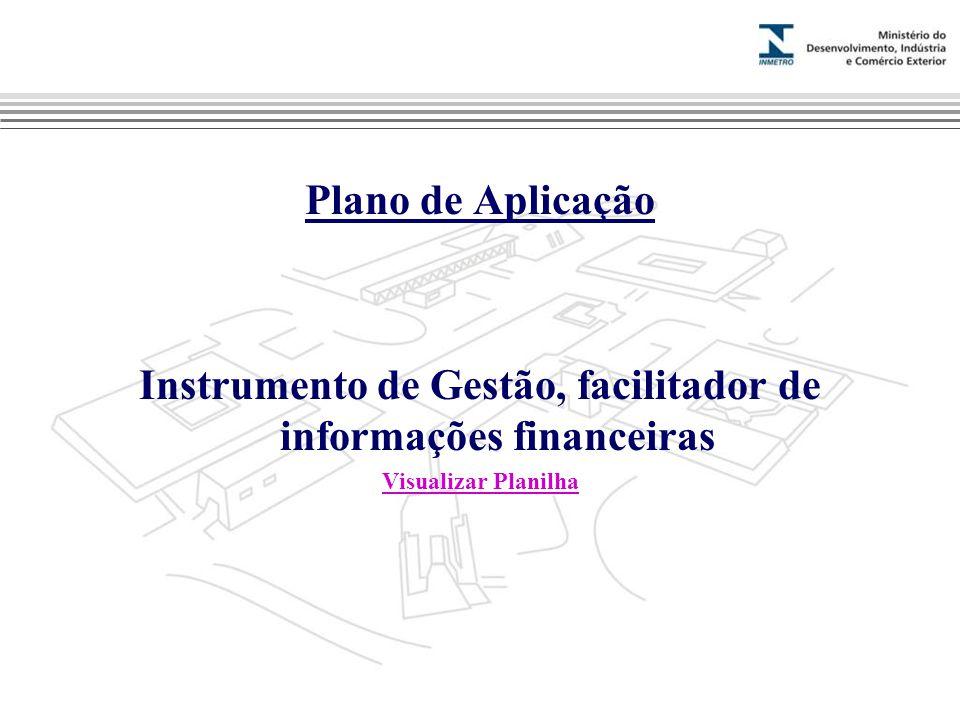 Marca do evento Plano de Aplicação Instrumento de Gestão, facilitador de informações financeiras Visualizar Planilha