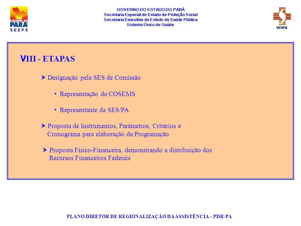 GOVERNO DO ESTADO DO PARÁ Secretaria Especial de Estado de Proteção Social Secretaria Executiva de Estado de Saúde Pública Sistema Único de Saúde PLAN