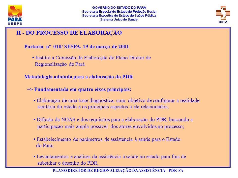 GOVERNO DO ESTADO DO PARÁ Secretaria Especial de Estado de Proteção Social Secretaria Executiva de Estado de Saúde Pública Sistema Único de Saúde PLANO DIRETOR DE REGIONALIZAÇÃO DA ASSISTÊNCIA – PDR-PA III - DO PROCESSO DE AVALIAÇÃO DOS MUNICÍPIOS EM GESTÃO PLENA DO SISTEMA MUNICIPAL 44 municípios habilitados em GPSM pela NOB SUS 01/96, apenas 06 em condições de atendimento segundo preceitos da NOAS IV - DO DESENHO APROVADO -> REGIONALIZAÇÃO 09 Polos Regionais; 34 Regiões de Saúde; 62 Módulos Assistênciais; Obs.: Adequação dos conceitos da NOAS à realidade do Estado Região de Saúde Denominar a Unidade Territorial de Qualificação, definida na NOAS-SUS 01/2001 como a menor unidade de planejamento acima do Módulo Assistencial