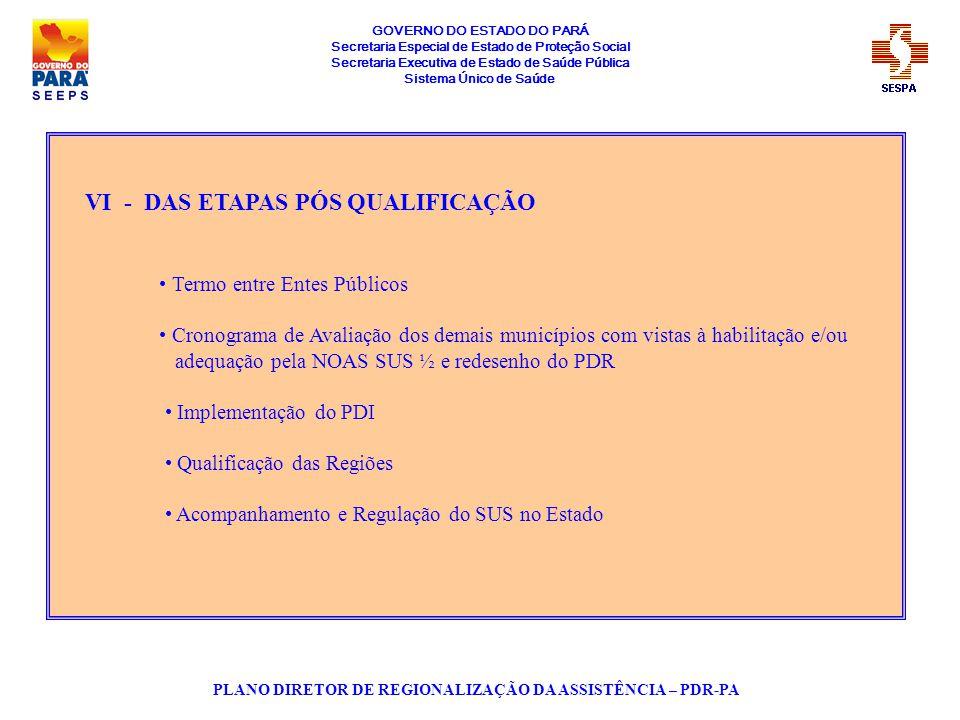 GOVERNO DO ESTADO DO PARÁ Secretaria Especial de Estado de Proteção Social Secretaria Executiva de Estado de Saúde Pública Sistema Único de Saúde PLANO DIRETOR DE REGIONALIZAÇÃO DA ASSISTÊNCIA – PDR-PA VII - DO PROCESSO DE QUALIFICAÇÃO DO ESTADO Após cumprido os requisitos legais conforme NOAS, o Estado do Pará, teve seu processo de qualificação aprovado em reunião da CIT do dia 20/06/2002, formalizado através da Portaria nº 1262/MS, de 10/07/2002 publicada no DOU nº 132 de 11/07/2002