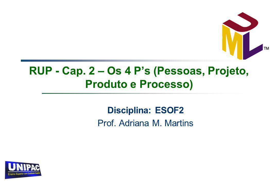 RUP - Cap. 2 – Os 4 P's (Pessoas, Projeto, Produto e Processo) Disciplina: ESOF2 Prof. Adriana M. Martins