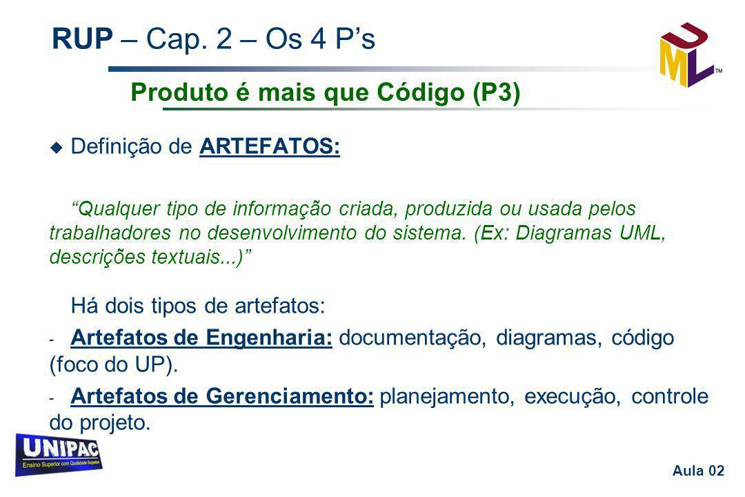 """RUP – Cap. 2 – Os 4 P's Aula 02 u Definição de ARTEFATOS: """"Qualquer tipo de informação criada, produzida ou usada pelos trabalhadores no desenvolvimen"""