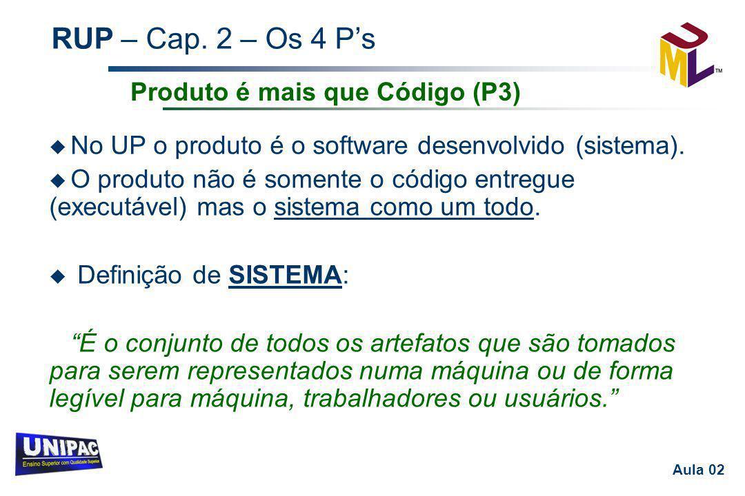 RUP – Cap. 2 – Os 4 P's Aula 02 u No UP o produto é o software desenvolvido (sistema). u O produto não é somente o código entregue (executável) mas o