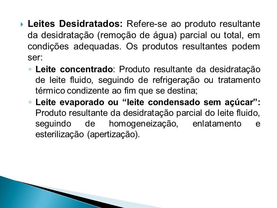  Leites Desidratados: Refere-se ao produto resultante da desidratação (remoção de água) parcial ou total, em condições adequadas. Os produtos resulta