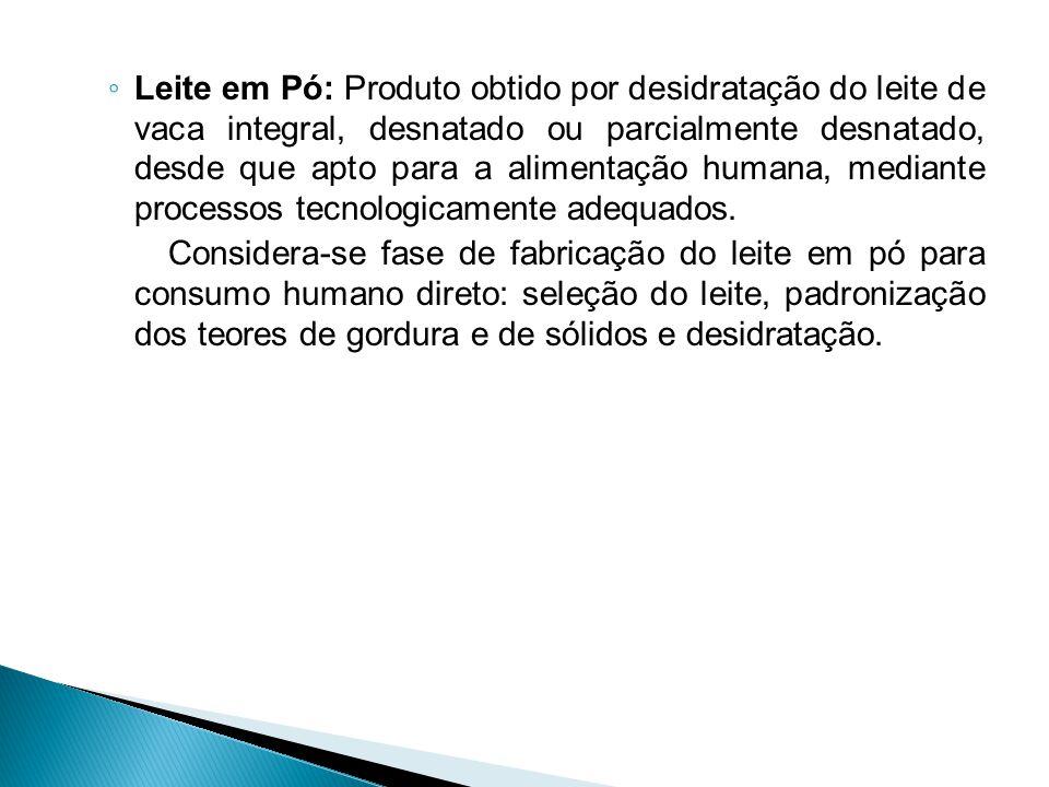 ◦ Leite em Pó: Produto obtido por desidratação do leite de vaca integral, desnatado ou parcialmente desnatado, desde que apto para a alimentação human