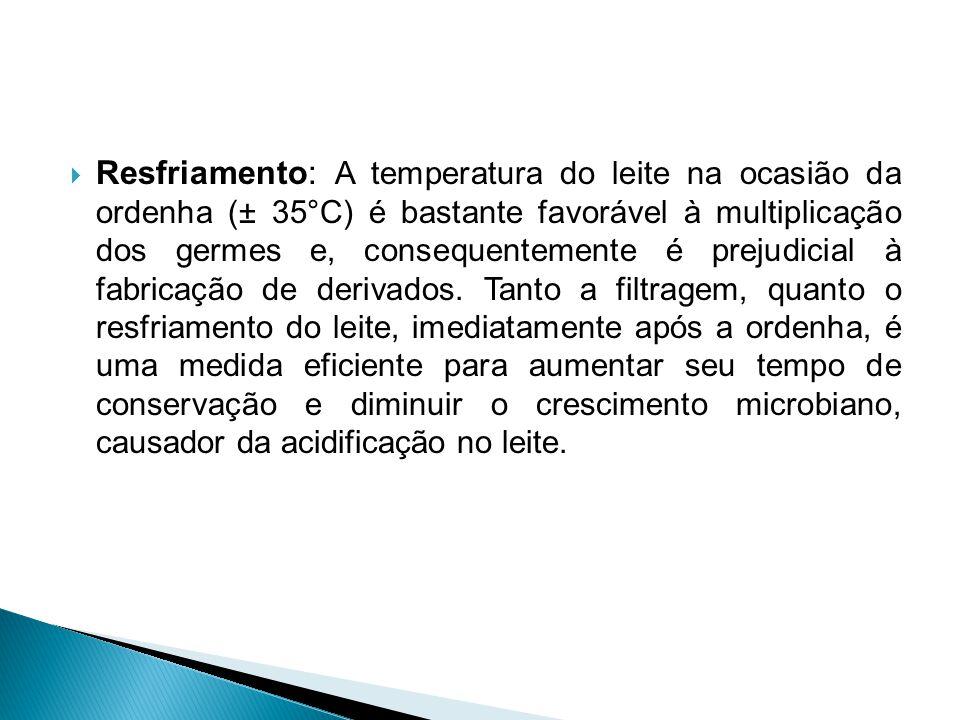  Resfriamento: A temperatura do leite na ocasião da ordenha (± 35°C) é bastante favorável à multiplicação dos germes e, consequentemente é prejudicia