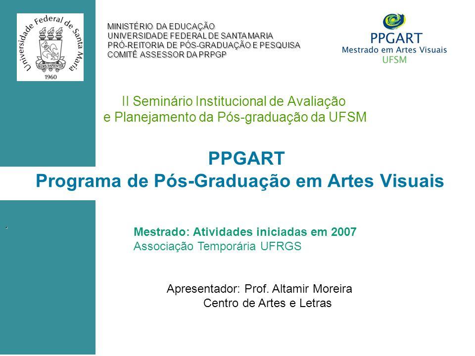 MINISTÉRIO DA EDUCAÇÃO UNIVERSIDADE FEDERAL DE SANTA MARIA PRÓ-REITORIA DE PÓS-GRADUAÇÃO E PESQUISA COMITÊ ASSESSOR DA PRPGP II Seminário Institucional de Avaliação e Planejamento da Pós-graduação da UFSM Mestrado: Atividades iniciadas em 2007 Associação Temporária UFRGS Apresentador: Prof.
